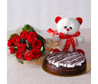 Giftacrossindia Bunch of Red Roses with Teddy Bear and White Cream Chocolate Cake (GAIMPHD0326)