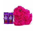Giftacrossindia Perfect Pink Carnations Bouquet and Cadbury Dairy Milk Fruit N Nut Chocolate Bars (GAIMPHD0180)