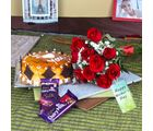 Giftacrossindia Assorted Chocolate And Cake With Ten Red Roses For Mothers Day