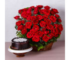 Giftacrossindia Basket Arrangement of Fifty Red Roses with Chocolate Cake (GAIMPHD0343)