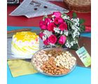 Giftacrossindia Pineapple Cake With Pink Roses And Dryfruits