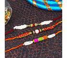 Giftacrossindia Pearl And Zardosi Rakhi Combo