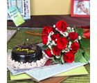 Giftacrossindia Ten Red Roses Bouquet With Chocolate Cake