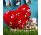Giftacrossindia Heart Shape Cushion And Golden Rose With Teddy Bear For Mothers Day (GAICORMOT2017027)