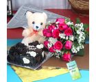Giftacrossindia Heart Shape Cake And Roses With Teddy Bear For Mothers Day