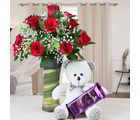 Giftacrossindia Teddy Bear And Chocolate With Vase Of Red Roses (GAIVALHD20190446)