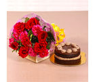 Giftacrossindia Roses and Carnations Bouquet with Chocolate Cake (GAIMPHD0198)