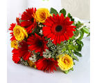 Giftacrossindia Bouquet of Dozen Red Gerberas and Yellow Roses (GAIMPHD0029)