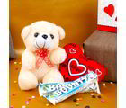 Giftacrossindia Teddy With Love Heart And Bounty Chocolates For Valentine Day (GAICOUVAL2019130)