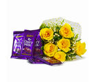 Giftacrossindia Bunch of 6 Yellow Roses with Cadbury Dairy Milk Chocolate Bars (GAIMPHD0112)