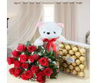 Giftacrossindia Ferrero Rocher Chocolate Box With Roses Bouquet And Teddy Bear (GAIVALHD20190461)