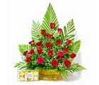 Giftacrossindia Basket Arrangement of Red Roses with Ferrero Rocher Chocolate Box (GAIMPHD0187)