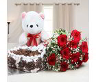 Giftacrossindia Complete Hamper Of Cake With Roses And Teddy (GAIVALHD20190457)