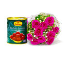 Giftacrossindia Delicious Gulab Jamuns with Bouquet of Pink Roses (GAIMPHD0459)