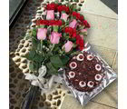 Giftacrossindia Delicious Black Forest Cake And Mix Flowers Bouquet (GAIVALHD20190419)