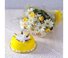 Giftacrossindia White Gerberas with Yellow Roses and Pineapple Cake (GAIMPHD0562)
