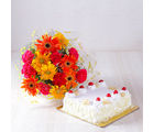 Giftacrossindia Pineapple Cake with Beautiful Mix Flowers Bouquet (GAIMPHD0314)