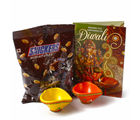 Giftacrossindia Pack Of Snickers Minature Chocolates With Earthen Diyas