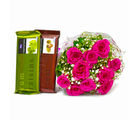 Giftacrossindia Hand Tied Bunch of Ten Pink Roses and Bars of Temptation Chocolate (GAIMPHD0134)