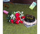Giftacrossindia Lovely Red Roses Bouquet With Chocolate Cake On Mothers Day