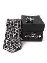 Giftacrossindia Printed Black Grey Tie and Cufflinks (GAIMCOM0015-D-01)