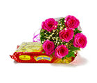 Giftacrossindia Six Pink Roses Bouquet with Soan Papdi Sweet (GAIMPHD0408)