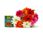 Giftacrossindia Bouquet of Mix Ten Gerberas with Gulab Jamuns (GAIMPHD0380)