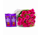 Giftacrossindia Bunch of 20 Pink Roses with Cadbury Fruit and Nut Chocolate Bars (GAIMPHD0158)