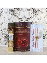 Giftacrossindia Double Rakhi with Dates Almond and Ferrero Rocher Chocolate Pack