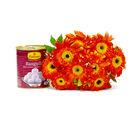 Giftacrossindia Bouquet of Ten Orange Gerberas with Rasgullas (GAIMPHD0389)