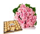 Giftacrossindia 24 Pcs Ferrero Rocher With Pink Roses Bouquet (GAIVALHD20190071)