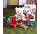 Giftacrossindia Pink Roses With Cute Teddy Hamper (GAIVALHD20190301)