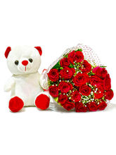Giftacrossindia Bouquet of Twenty Red Roses with Soft Toy (GAIMPHD0494)