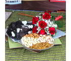 Giftacrossindia Assorted Dry Fruits With Roses Bouquet And Heart Shape Chocolate Cake (GAIVALHD20190367)