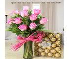 Giftacrossindia Stunning Ferrero Rocher Chocolate With Pink Roses Hamper (GAIVALHD20190437)