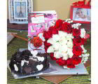 Giftacrossindia Heart Shape Chocolate Cake With Roses Bouquet And Love Greeting Card (GAIVALHD20190353)