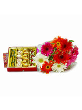 Giftacrossindia Bunch of Mix Gerberas with Box of One Kg Assorted Sweets (GAIMPHD0467)
