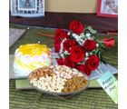 Giftacrossindia Red Roses Bouquet With Pineapple Cake And Assorted Dryfruits