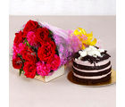 Giftacrossindia Bouquet of Red Roses and Pink Carnation with Chocolate cake (GAIMPHD0344)