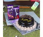Giftacrossindia Mothers Day Treat Of Dark Chocolate Cake With Cadbury Dairy Milk Chocolates