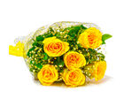 Giftacrossindia Six Stem of Yellow Roses Bouquet (GAIMPHD0050)