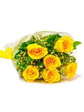 Giftacrossindia Six Stem of Yellow Roses Bouquet (GAIMPHD0050)