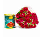 Giftacrossindia Twenty Romantic Red Roses with Tempting Gulab Jamuns (GAIMPHD0423)