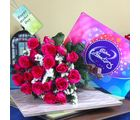 Giftacrossindia Celebration Chocolate Pack With Pink Roses Bouquet
