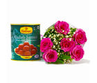 Giftacrossindia Six Pink Roses Bouquet with Tempting Gulab Jamuns (GAIMPHD0407)