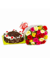 Giftacrossindia Birthday Surprise Special of Multi Color Roses with Blackforest Cake (GAIMPHD0301)