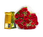 Giftacrossindia Hand Tied Bunch of Red Roses and Bars of Cadbury Temptation Chocolate (GAIMPHD0143)