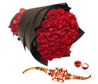 Giftacrossindia Red Roses Bouquet With Rakhi
