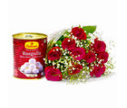 Giftacrossindia One Kg Rasgullas with Bouquet of 10 Red Roses (GAIMPHD0462)