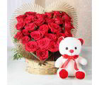 Giftacrossindia Combo Of Heart Shape Arrangement Of Red Rose With Teddy Bear (GAIVALHD20190462)
